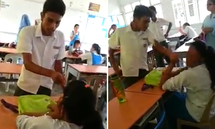 Male student scolds and slaps female classmate repeatedly -- but not a single person stops him