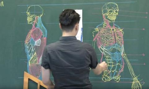 Are you sure he's just a teacher? Look at his amazing chalk skills