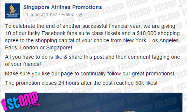 Beware of bogus SIA Facebook page advertising travel promos: Don't give out your personal info