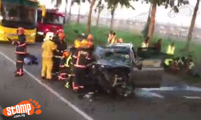Driver in his 20s dies after car rams into tree on Changi Coast Road, 5 others injured