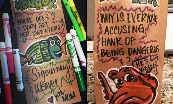 Artistic mum turns her kid's lunch bags into entertaining works of art