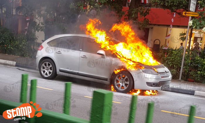 Car goes up in flames at Bukit Merah Central