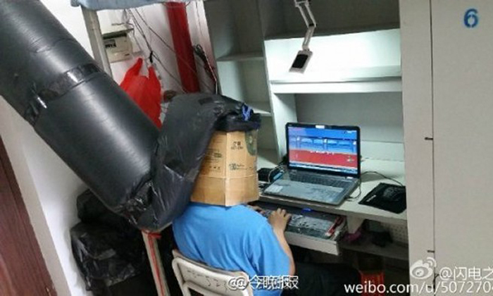 Chinese student goes to extreme lengths to breathe in a dorm full of smokers