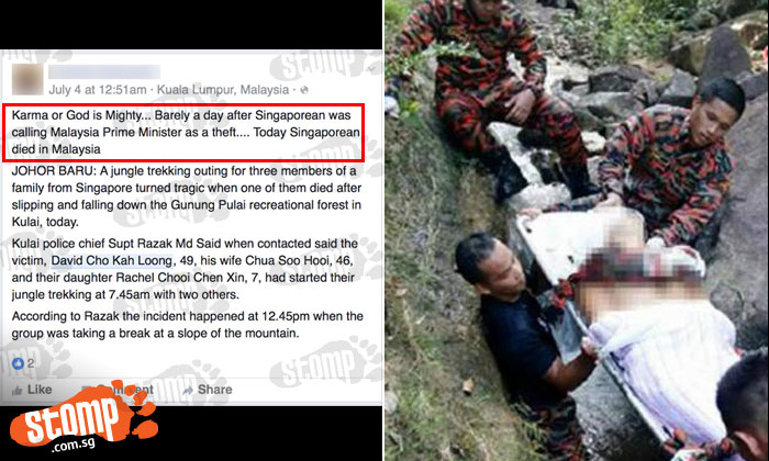 """Stomper slams netizen's """"senseless"""" comment about S'porean who died while trying to save daughter"""