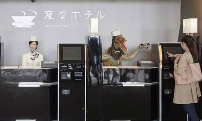 Imagine getting greeted at a hotel lobby -- by dinosaurs