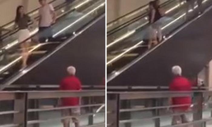 Girls beware! Elderly man caught peeping up women's skirts repeatedly at Bugis+ escalator