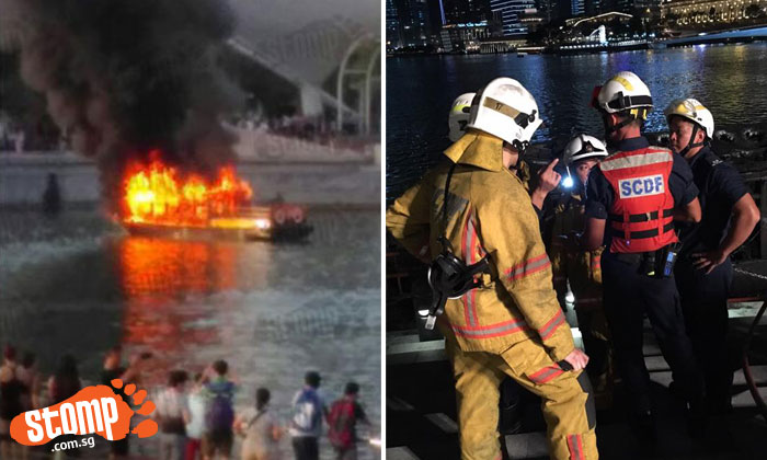 Bumboat on fire near Esplanade: Person still missing after 17 hours