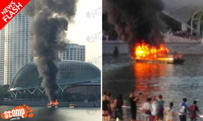 Huge flame engulfs passenger boat near Esplanade