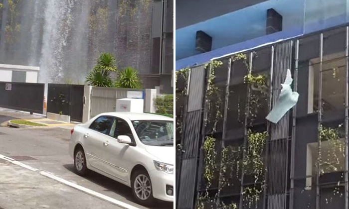 Water gushes as glass panels of Whampoa condo's pool come crashing down from 5th floor