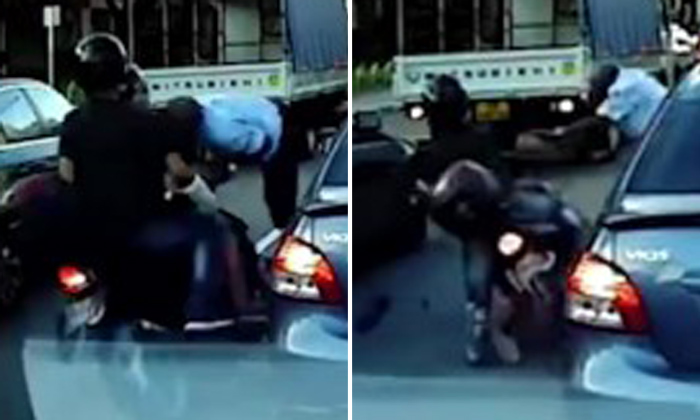 Jaywalker sent flying after getting hit by motorcycle while dashing across Serangoon Road
