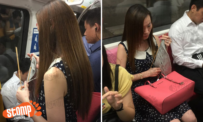 Woman on MRT could injure someone if train suddenly jerks