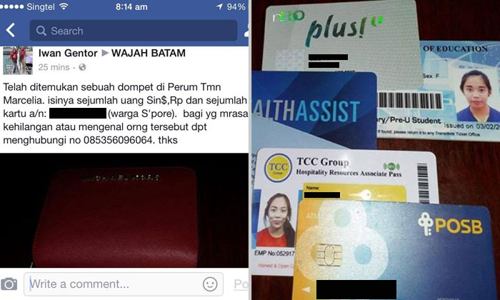 Do you know the owner? Netizen in Batam finds wallet belonging to S'porean