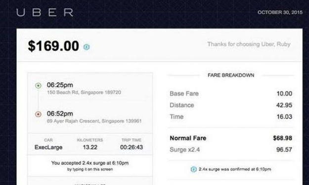$169 for 27-minute Uber ride from Beach Road to Ayer Rajah