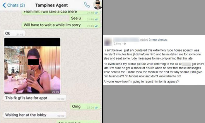 Property agent scolds client for being 2 minutes late -- but mistakenly sends messages to her