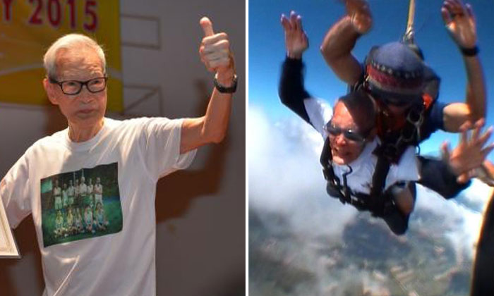 90-year-old man sets record as oldest skydiver in Singapore by jumping with family