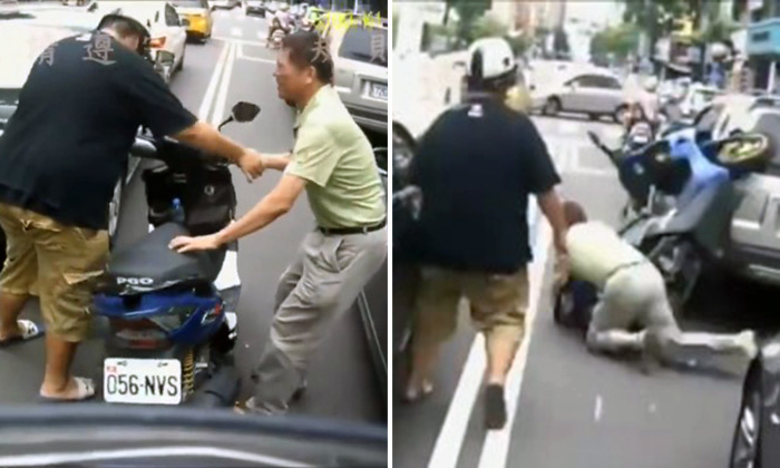 Comedy of errors ensue when man tries to help biker he knocked down in Taiwan