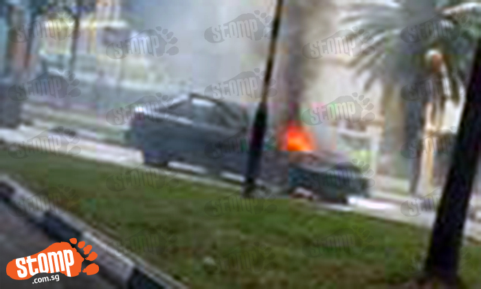 Car goes up in flames near Pioneer MRT Station