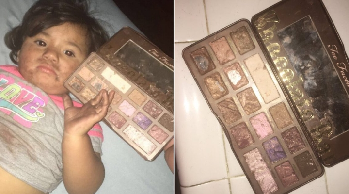What happens when 2-year-old mistakes make-up palette for chocolate