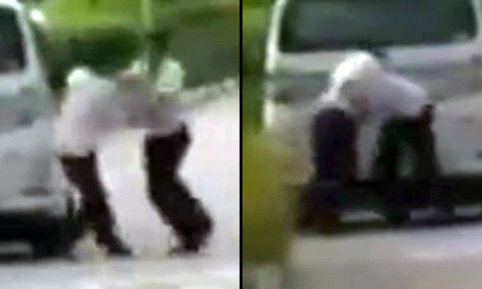 Men throw punches and grapple each other near Gardens by the Bay