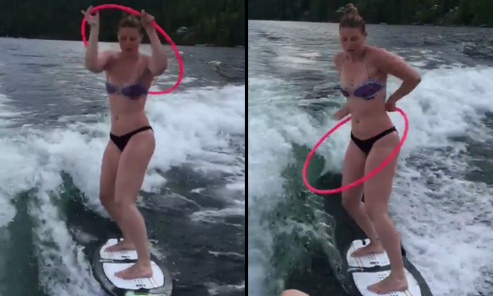 Bikini babe surfs while doing hula hoops -- and makes it look so easy
