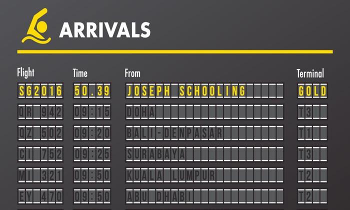 Changi Airport announces Joseph Schooling's impressive victory with unique 'arrival board'