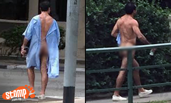 Man walks outside Tiong Bahru Plaza with butt exposed in hospital gown -- then goes fully nude in public