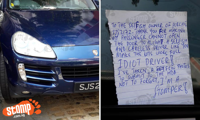 Angry Stomper leaves note for Porsche driver who did this