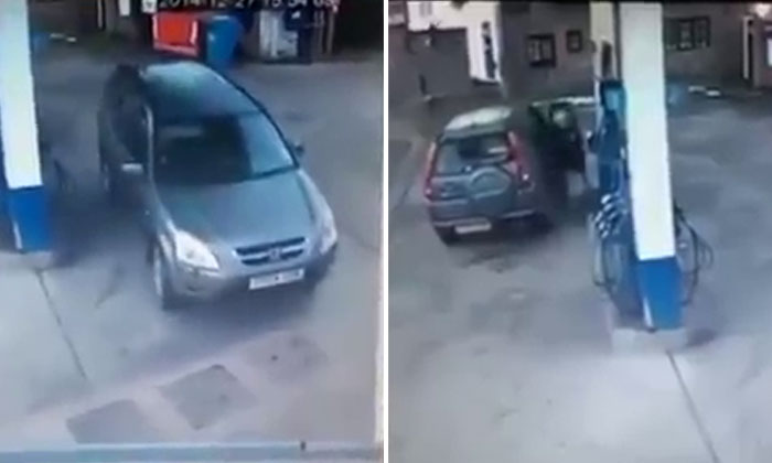 Watch this driver try and try to figure out the correct side of her car to pump petrol
