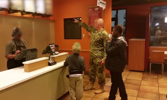 The sweetest thing happens after macho soldier sees kids selling homemade desserts in fastfood restaurant
