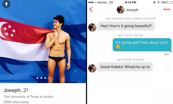 Girl responds to Tinder match after almost 4 months -- after realising he won Olympic gold medal and beat Michael Phelps