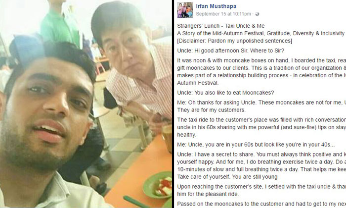 A wonderful story about racial harmony in S'pore How passenger ends up having lunch with kind taxi uncle