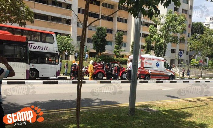 Man's leg trapped under bus in accident along Hougang Avenue 9