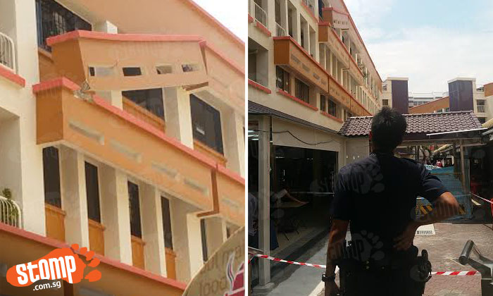 Police cordons off area as building parapet almost comes crashing down at Tampines Blk 201E