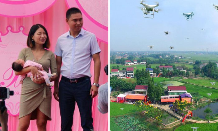 Father celebrates daughter's one-month birthday with a flock of drones in China