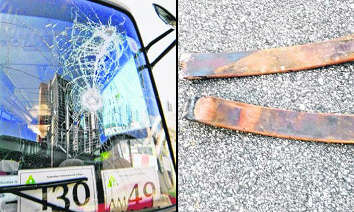 Metal pieces crash through windscreen of bus travelling down Commonwealth Ave West