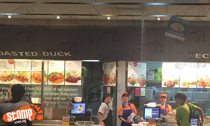 Water gushes out from ceiling at Rivervale Mall food court
