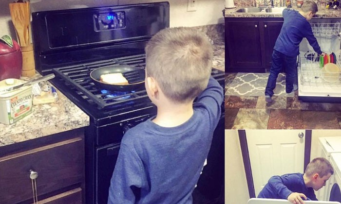 Mum teaches son to do house chores and gets praises as well as accusations