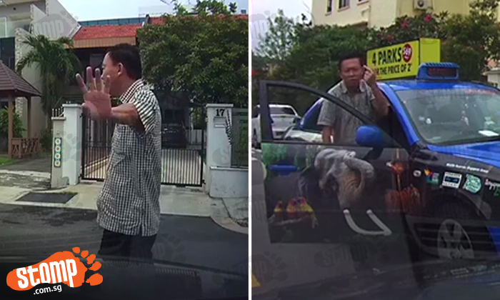 Cabby refuses to give way despite being honked at by multiple cars -- then acts all 'self-righteous'