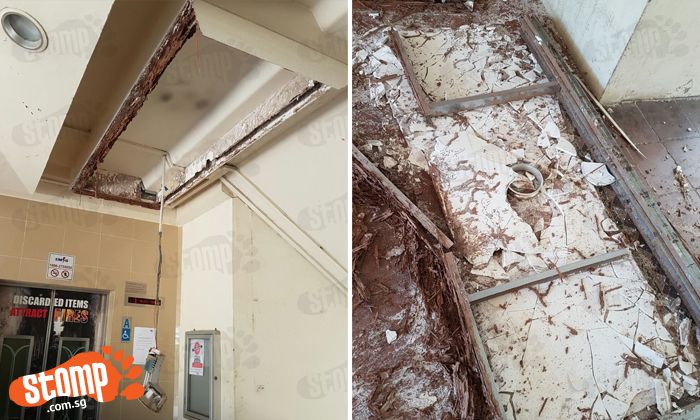 False ceiling at Tampines void deck collapses: Imagine if someone had been entering or exiting lift