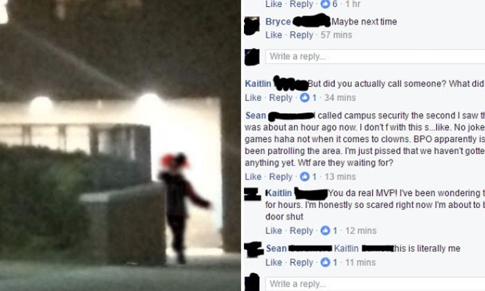 Photoshopped picture of clown on campus, gets weapons and helicopters involve in a manhunt