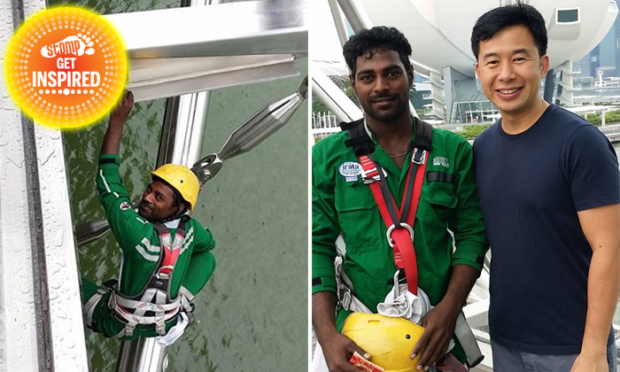Awesome worker climbs up Helix Bridge to return lost phone that he found in toilet