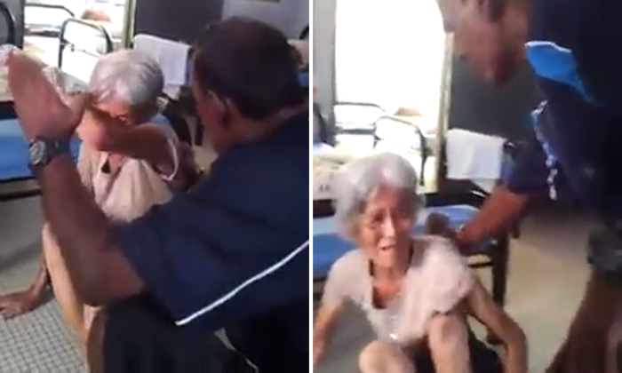 Elderly woman viciously slapped and beaten by man at old folks' home in Malaysia
