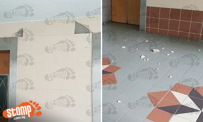 Tiles suddenly 'pop' off wall at lift lobby of Blk 547 Woodlands Dr 16