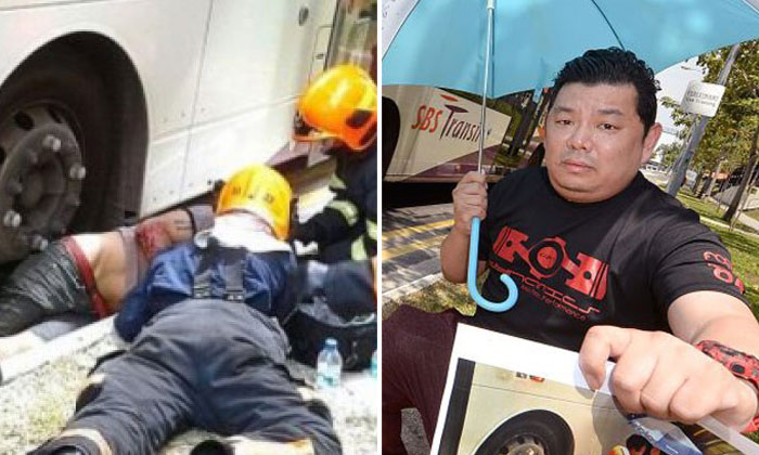 Accident where man got pinned under bus: 'Umbrella man' disappointed crowd took photos instead of helping