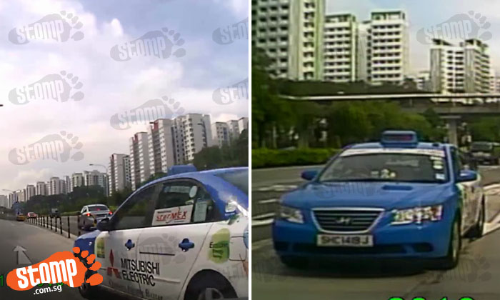 Watch how reckless cabby changes lanes without warning and almost causes accident along TPE