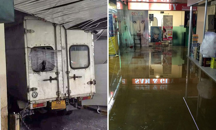 Water gushes from People's Park Centre ceiling after lorry gets stuck in carpark and sprinkler pipe bursts