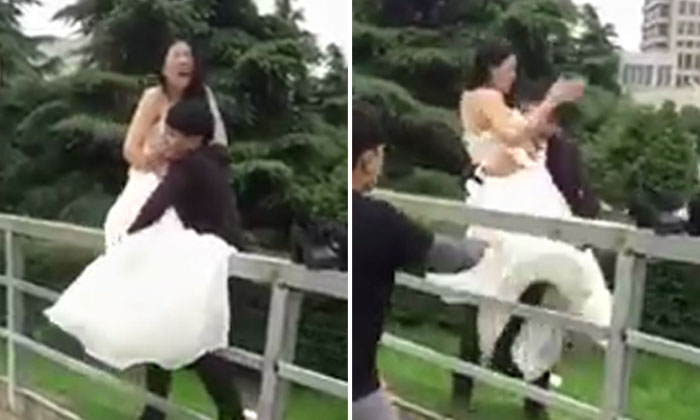 Whose fault is it though Bride falls on crotch while walking on railing -- then gets upset at husband for her pain