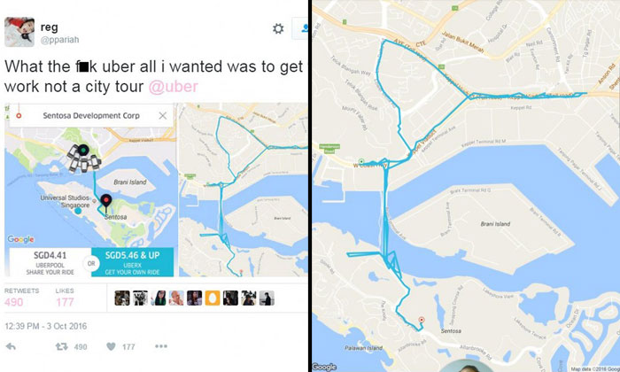 "Woman books Uber ride from Harbourfront to Sentosa but ends up going on 1-hour ""city tour"""