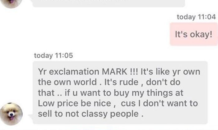 This Carousell seller needs to take a chill pill before scolding buyer for using exclamation mark