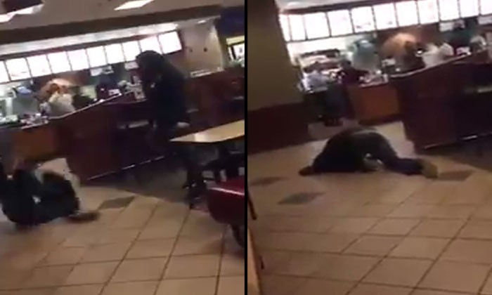 Man painfully screams ex-girlfriend's name after her new man shoved him to the ground